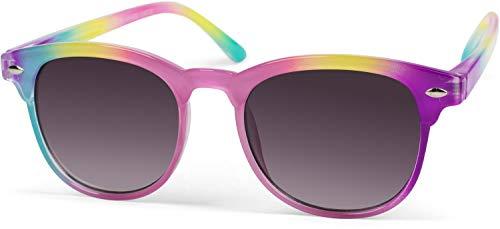 styleBREAKER Kinder Nerd Sonnenbrille mit buntem Rahmen, Kunststoff Rahmen und Polycarbonat Flachgläsern...