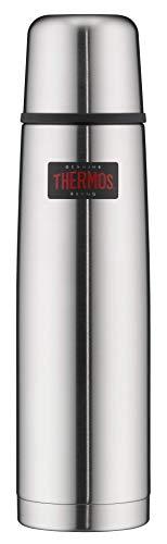 THERMOS 4019.205.100 Thermosflasche Light & Compact, Edelstahl mattiert 1,0 l, Spülmaschinenfest, 24 Stunen...