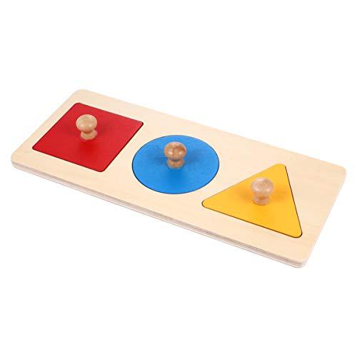 TOYANDONA 1 Satz Geometrisches Puzzle Board Montessori Mehrere Form Puzzle Knopf Holz Puzzle Board Vorschule...