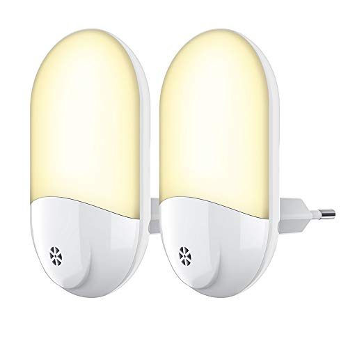 LED Nachtlicht Steckdose - Automatisch Warmweiß LED Nachtlicht Steckdose mit Dämmerungssensor 2 stück,...