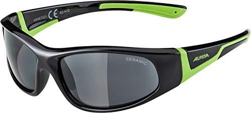 ALPINA Unisex - Kinder, FLEXXY JUNIOR Sportbrille, black-green gloss, One Size