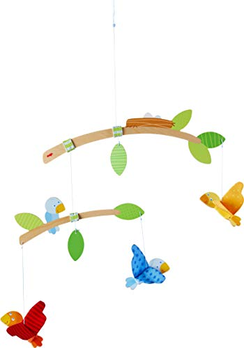 HABA 304314 - Mobile Vögelchen, Babyspielzeug für den Wickeltisch, stimuliert die Sinne von Babys, ideal als...