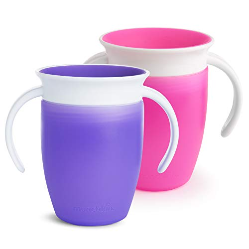 Munchkin Miracle 360ᵒ Trinklernbecher mit Griffen, auslaufsicher, ab 6 Monaten, violett/rosa, 207 ml (2er...