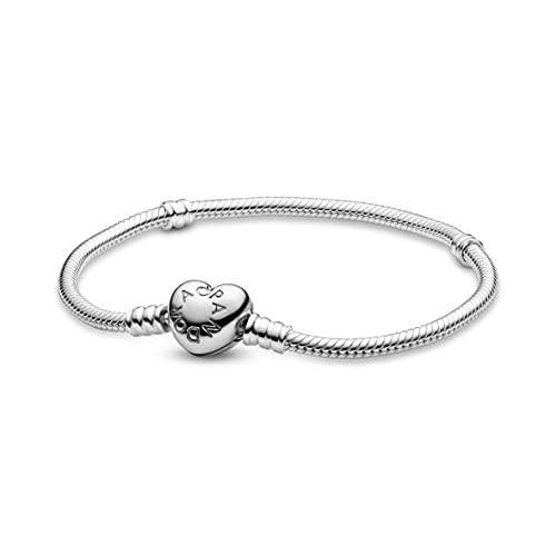 Pandora Moments Schlangen-Gliederarmband mit Herz-Verschluss, Silber, 19 cm