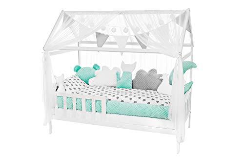 NIUXENDESIGN ® HB-01 Baby Bett Haus Kinderbett 160x80 cm Juniorbett Inkl. Rausfallschutz Bettset Matratze...