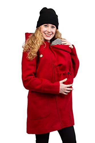 Viva la Mama - Jacke für Babytragen - Umstandsjacke warm - Mantel für Schwangere - Valentin Plus - rot - M