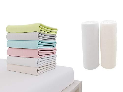 Dreamzie - 2er SetSpannbettlaken 70x140 cm - 100% Jersey Baumwolle Zertifiziert Oeko-TEX® - Weiß und Beige -...