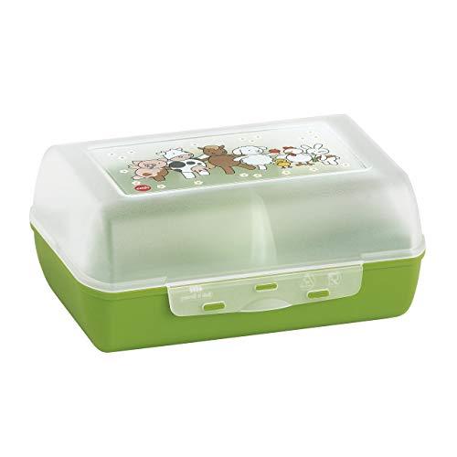 Emsa 513791 Variabolo Farm Family kids snack or lunch box 16x11x7cm transparent, Grün