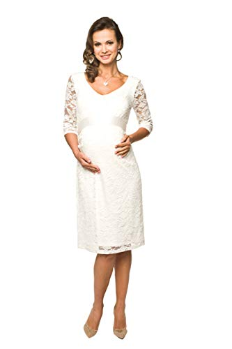 Torelle Damen Umstandskleid Brautkleid für Schwangere, Modell: LACE, 3/4 Arm, Creme, M