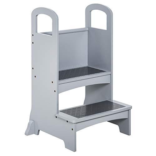 HOMCOM Lernturm Tritthocker für Küche Schemel Stehender für Küchentheke Küchenhelfer mit 2 Stufen mehr...