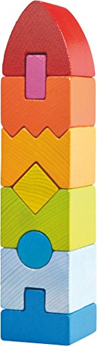 HABA 301690 - Stapelspiel Regenbogen-Hochhaus | Holzspielzeug ab 12 Monaten | Turm aus 9 Holzbausteinen in...