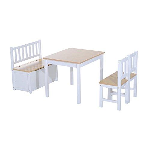 HOMCOM 4-tlg. Kindersitzgruppe mit Kindertisch Kinderstuhl Kinderbank Kindermöbel ab 3 Jahren Holz Natur