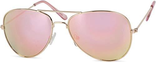 styleBREAKER Kinder Pilotenbrille mit Edelstahl Metall Gestell, verspiegelt oder getönt, Fliegerbrille,...
