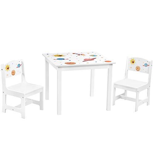 SONGMICS Kindertisch-Set, 3-teilig, Tisch mit 2 Stühlen, Tischbeine aus Massivholz, Kindermöbel, für...