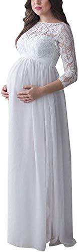Bowanadacles Damen Maxikleid Schwangerschaftskleid Langarm mit Spitze Stillkleid Fotografie Zeremonie Elegant,...