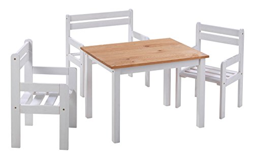 Home4You Sitzgruppe Kindergruppe Kindersitzgruppe | Kiefernholz Weiß | 1 Tisch 2 Stühle 1 Sitzbank