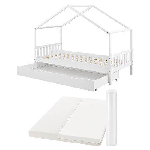 Juskys Kinderbett Yuki 90x200 cm - Komplett Set mit Matratze, Rausfallschutz, Bettkasten & Lattenrost – Holz...