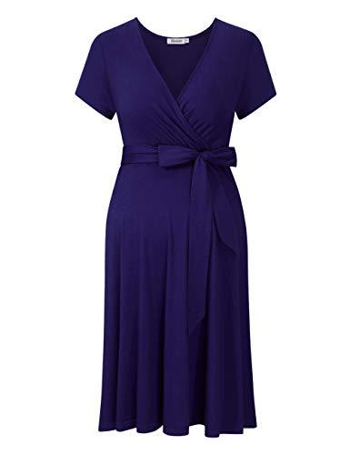 KOJOOIN Damen Umstandskleid Schwangerschafts Kleid für Schwangere Stillkleid V-Ausschnitt Langarm mit...