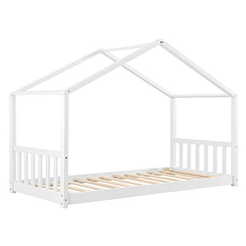 ArtLife Kinderbett Paulina 90 x 200 cm mit Lattenrost und Dach - Bett für Kinder aus massivem Holz - Hausbett...