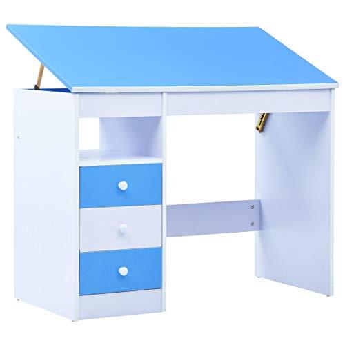 vidaXL Kinderschreibtisch mit 3 Schubladen Kippbar Neigungsverstellbar Schreibtisch Schülerschreibtisch...