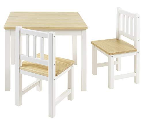 BOMI Stabile Kindersitzgruppe Amy 2 Stühle u. Tisch aus Kiefer Massiv Holz für Kleinkinder, Mädchen und...