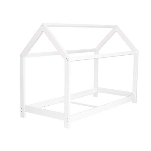 Puckdaddy Hausbett Finn – 200x90 cm, Kinder-Bett aus Holz in Weiß mit Bettrahmen im Hausbett-Design &...