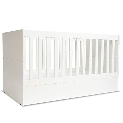 mini mio Babybett Stella 140x70cm weiß   umbaubar zum Beistellbett Juniorbett Jugendbett inkl. Matratze  ...