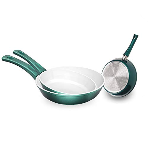 Genius Cerafit Fusion Bratpfannen-Set Induktions-Pfannen Keramik-Pfannen (3 Teile) in Smaragdgrün mit...