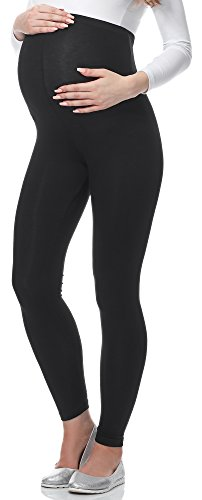 Be Mammy Lange Umstandsleggings aus Viskose BE-02 (Schwarz, XL)