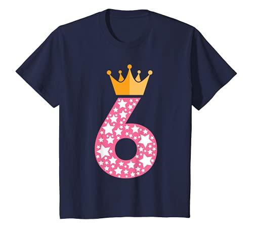 Kinder 6. Geburtstag Mädchen 6-jährig 6 Jahre Prinzessin Geschenk T-Shirt
