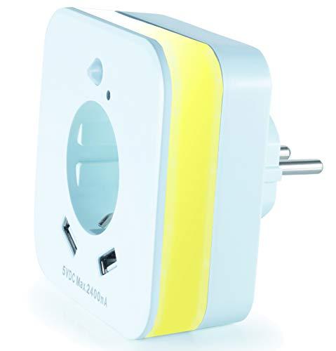 InnTec LED-Nachtlicht mit Bewegungsmelder und Steckdose, 2x USB 2.4A, weiß, automatischer Lichtsensor, GS...