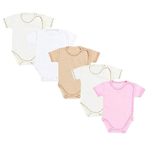 TupTam Unisex Baby Kurzarm Wickelbody 5er Pack, Farbe: Mädchen 2, Größe: 68