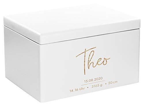LAUBLUST Erinnerungsbox Baby Personalisiert - Geschenk zur Geburt | 40x30x24cm, Weiß, FSC® | Serie: Niers -...