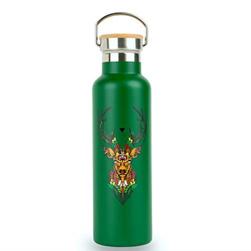 Geo Bottles Edelstahltrinkflasche ohne Plastik, 600 ml, BPA frei, doppelwandig isoliert, Bambusdeckel mit...