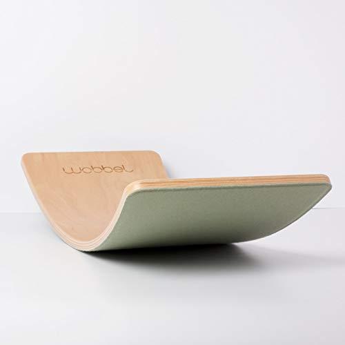 Wobbel Wobbelboard Starter Transparent lackiert mit Filz Forest Grün Yogaboard