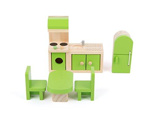 Small Foot 10873 Puppenmöbel aus Holz für die Küche im Puppenhaus, inkl. Kühlschrank, Küchenzeile, Tisch...