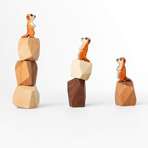 TRAUMHOLZIG Erdmännchen Familie (+BAU-Steine) Bio Waldorf Natur Spielzeug handgemacht aus hochwertiges Holz