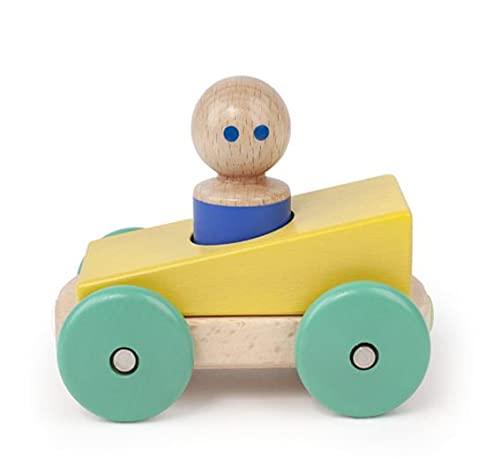 Tegu MRB-YLT-806T 5700650 Baby, magnetisches Spielauto, Holzspielzeug, Magnetic Racer gelb-grün, 3 Teile