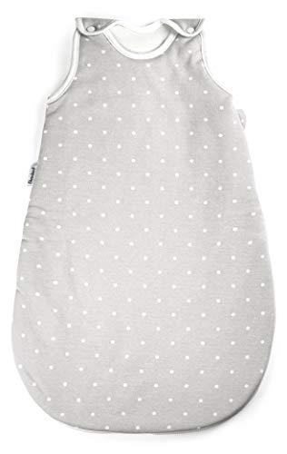 Ehrenkind® Babyschlafsack Rund | Bio-Baumwolle | Ganzjahres Schlafsack Baby Gr. 50/56 Farbe Grau mit weißen...