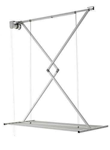 Foxydry Mini Deckenständer, vertikaler Wäscheständer, zusammenklappbar in Aluminium und Stahl (Grau, 150)