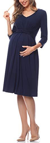 Be Mammy Damen Umstandskleid BE20-222(Marineblau, M)