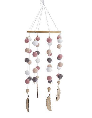Mobile mit Filzbällen und Federornamenten, zum Aufhängen über dem Kinderbett.