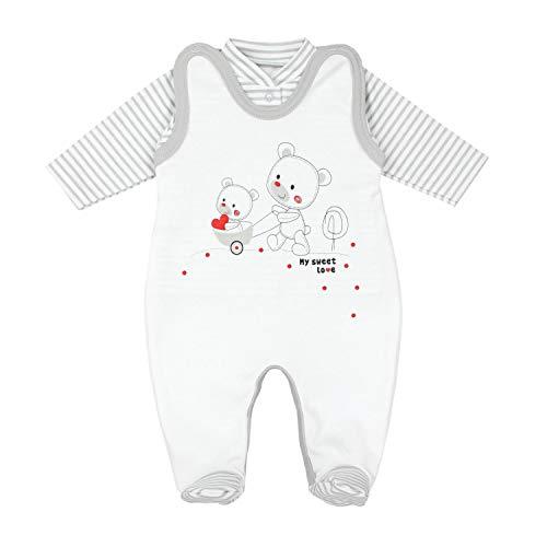 TupTam Baby Unisex Strampler-Set mit Aufdruck Spruch 2-TLG, Farbe: Streifenmuster Grau/Bärchen Herz, Größe:...