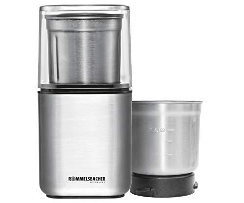 ROMMELSBACHER Gewürz und Kaffee Mühle EGK 200 - 2 Edelstahlbehälter mit Schlagmesser & Spezialmesser,...