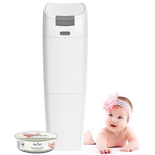 SPROSS Baby Windeleimer inkl. Nachfüllkassette - geruchsdichtes System mit Einhandbedienung - Baby Mülleimer...