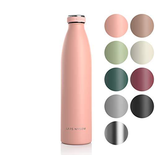 LARS NYSØM Edelstahl 1 Liter Trinkflasche | BPA-freie Isolierflasche 1000ml | Auslaufsichere Wasserflasche...
