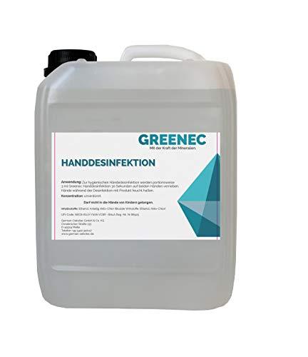 Händedesinfektion 5L, bekämpft sicher Keime, Bakterien, Viren und Pilze, gem. Dermatest mit'sehr gut'...