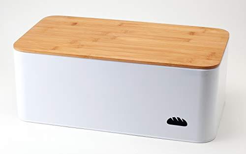 Hanseküche Brotkasten mit Bambus Schneidebrett - Brotbox aus Metall mit viel Platz und Holzdeckel -...