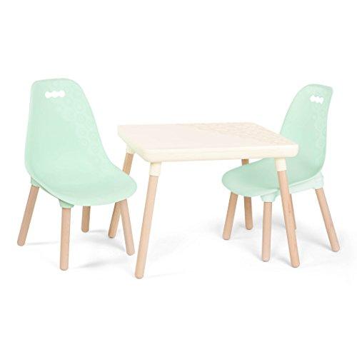 B. spaces Kindertisch mit 2 Stühlen – Kindersitzgruppe – 1 Tisch und 2 Kinderstühle mit Holz Beinen für...
