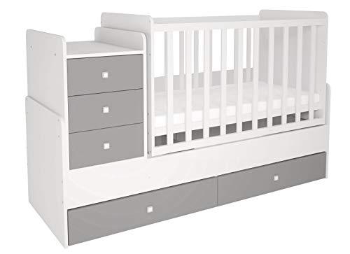Polini Kids mitwachsendes Kombi-Kinderbett Gitterbett Babybett mit integrierter Wickelkommode und...